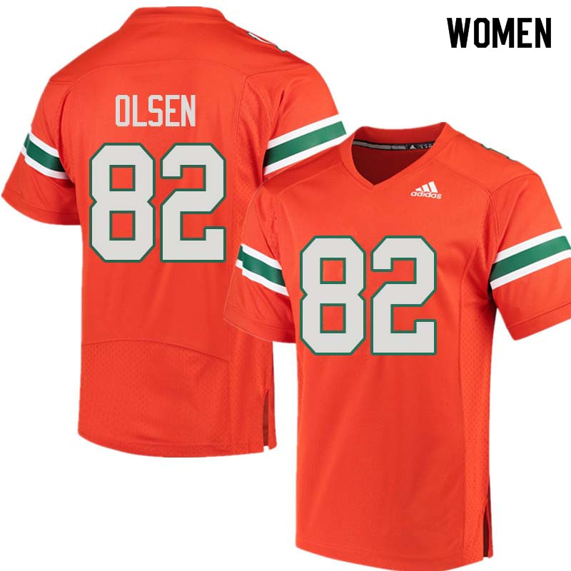 Women Miami Hurricanes #82 Greg Olsen College Football Jerseys Sale-Orange