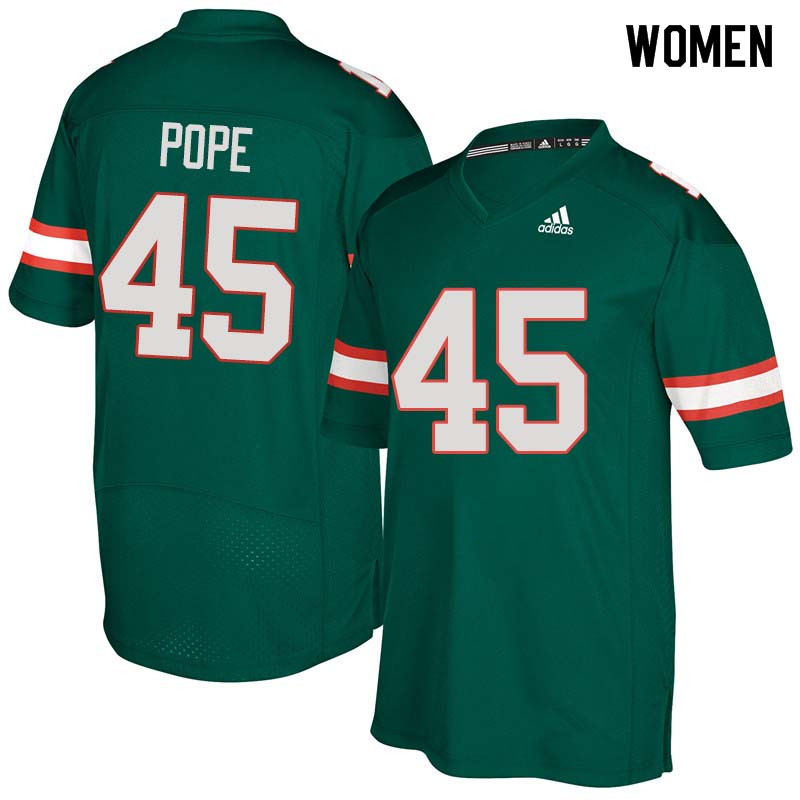 Women Miami Hurricanes #45 Jack Pope College Football Jerseys Sale-Green
