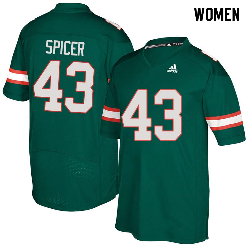 Women Miami Hurricanes #43 Jack Spicer College Football Jerseys Sale-Green