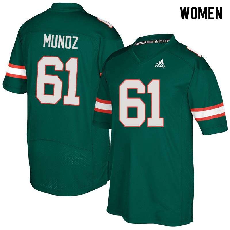Women Miami Hurricanes #61 Jacob Munoz College Football Jerseys Sale-Green