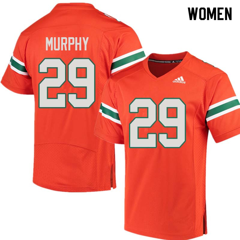 Women Miami Hurricanes #29 James Murphy College Football Jerseys Sale-Orange