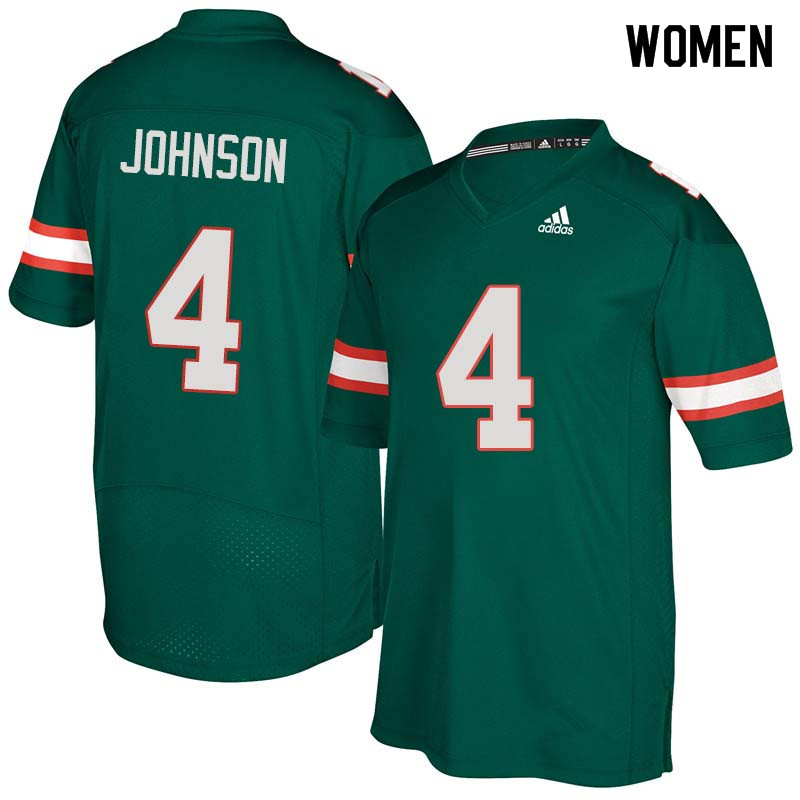 Women Miami Hurricanes #4 Jaquan Johnson College Football Jerseys Sale-Green