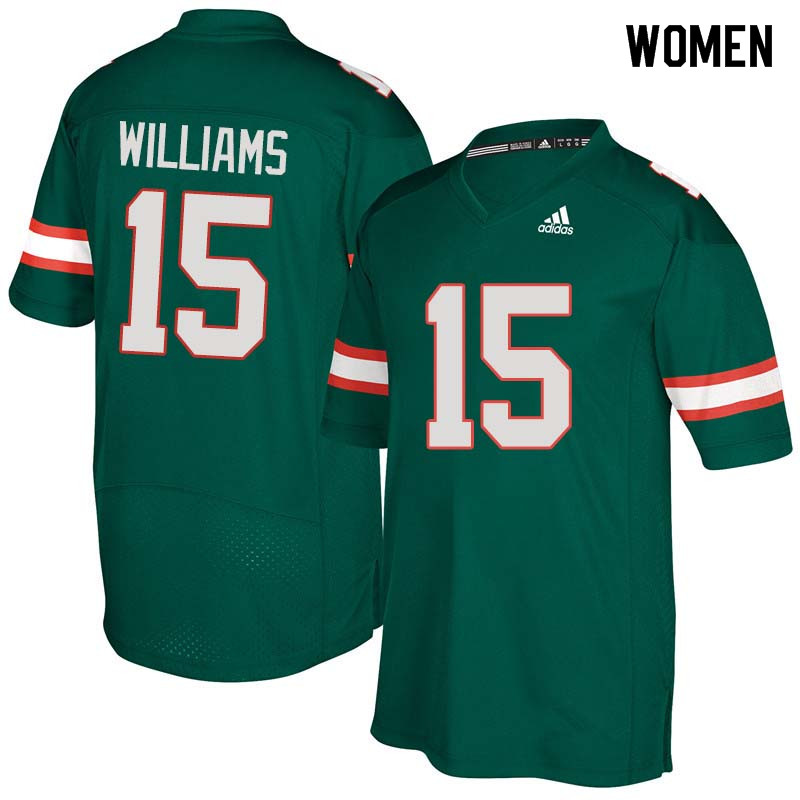 Women Miami Hurricanes #15 Jarren Williams College Football Jerseys Sale-Green