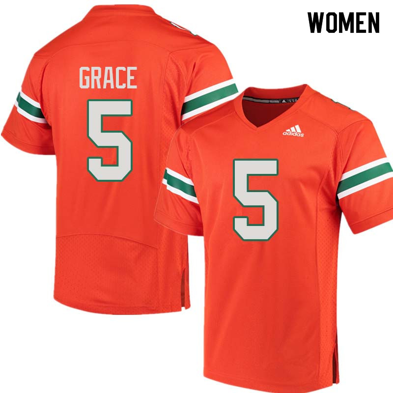Women Miami Hurricanes #5 Jermaine Grace College Football Jerseys Sale-Orange