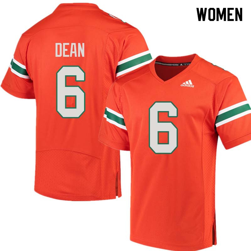 Women Miami Hurricanes #6 Jhavonte Dean College Football Jerseys Sale-Orange