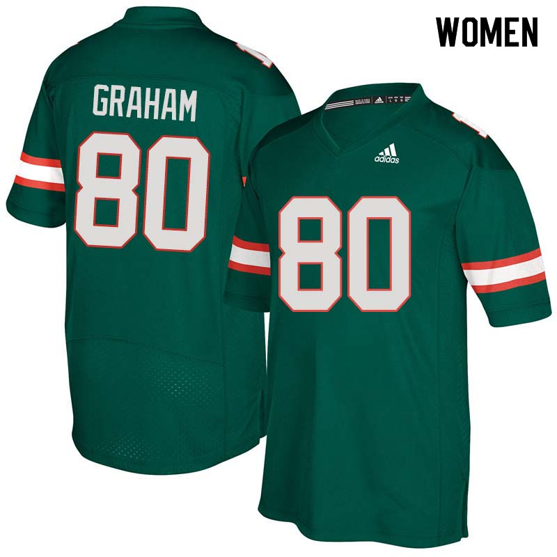 Women Miami Hurricanes #80 Jimmy Graham College Football Jerseys Sale-Green