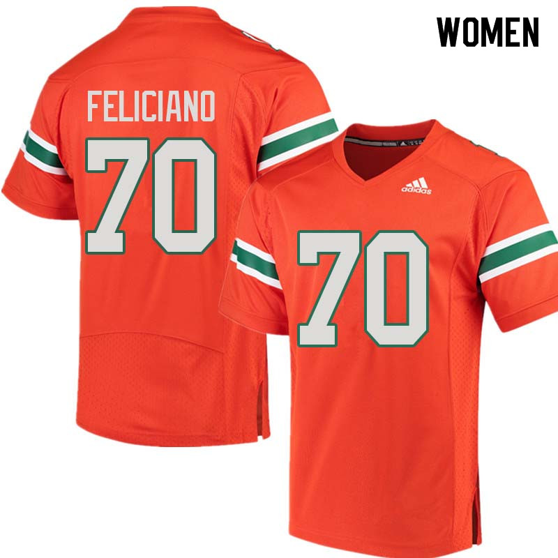 Women Miami Hurricanes #70 Jon Feliciano College Football Jerseys Sale-Orange