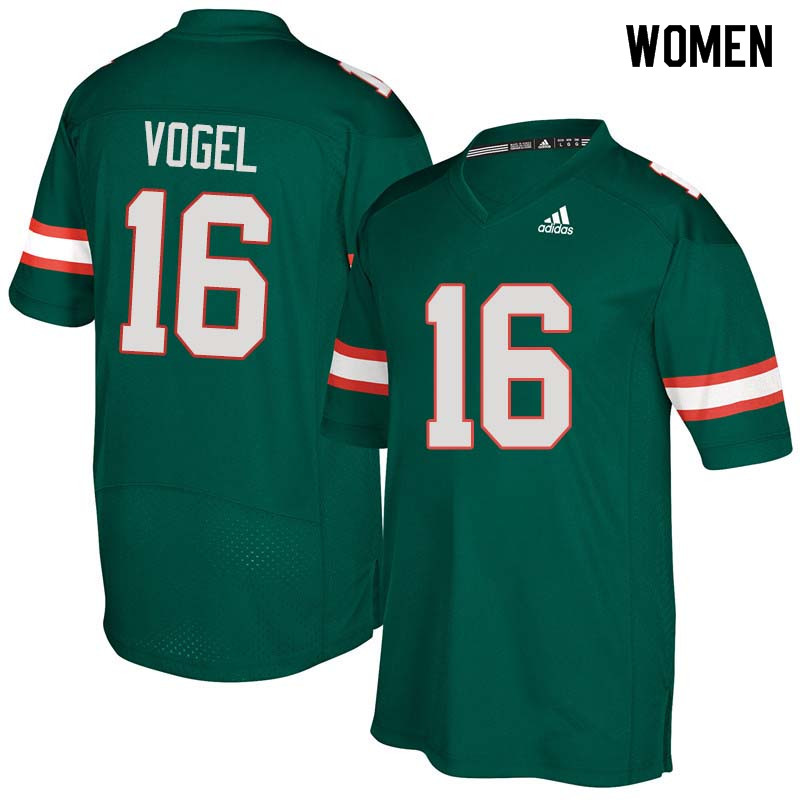 Women Miami Hurricanes #16 Justin Vogel College Football Jerseys Sale-Green