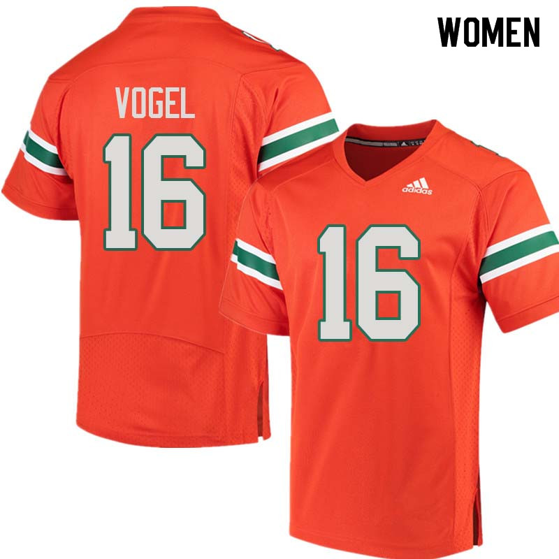 Women Miami Hurricanes #16 Justin Vogel College Football Jerseys Sale-Orange
