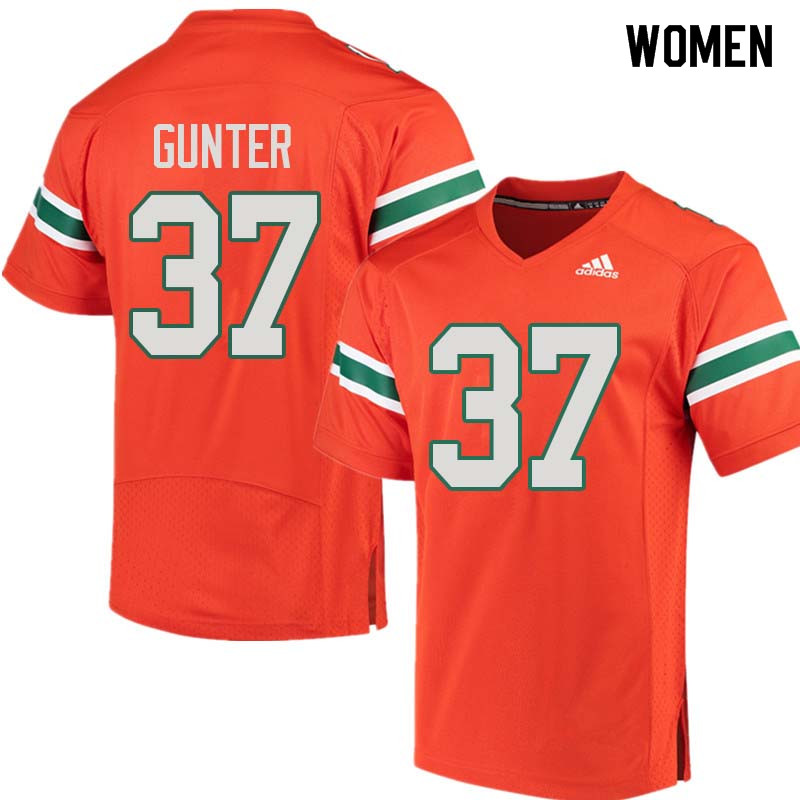Women Miami Hurricanes #37 LaDarius Gunter College Football Jerseys Sale-Orange