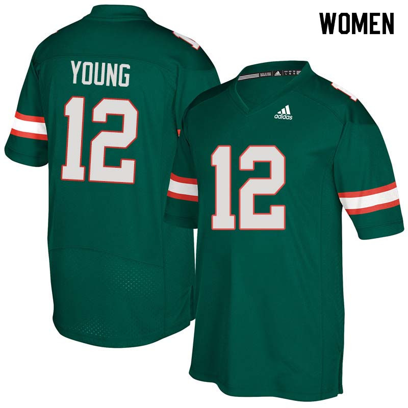 Women Miami Hurricanes #12 Malek Young College Football Jerseys Sale-Green