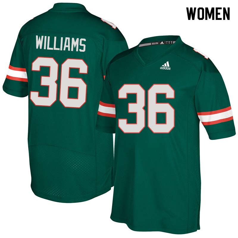 Women Miami Hurricanes #36 Marquez Williams College Football Jerseys Sale-Green