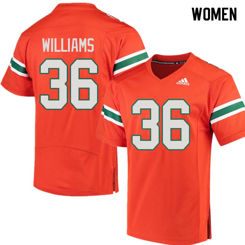 Women Miami Hurricanes #36 Marquez Williams College Football Jerseys Sale-Orange