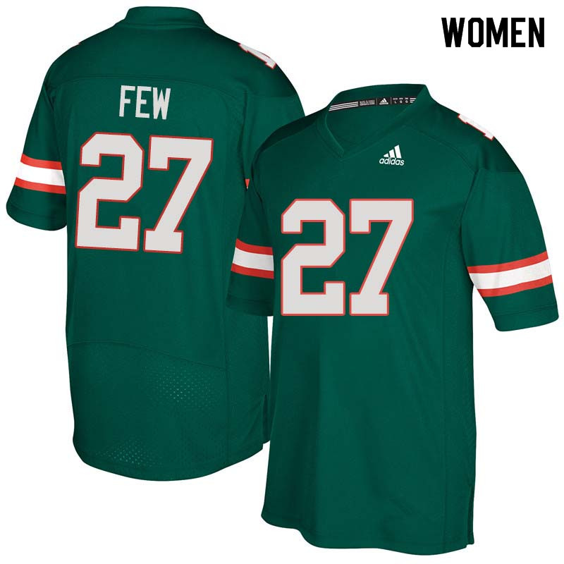 Women Miami Hurricanes #27 Marshall Few College Football Jerseys Sale-Green