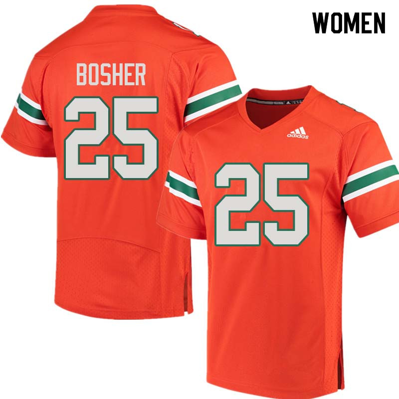 Women Miami Hurricanes #25 Matt Bosher College Football Jerseys Sale-Orange
