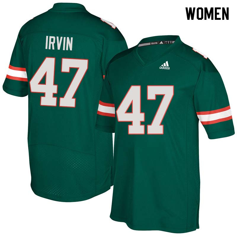 Women Miami Hurricanes #47 Michael Irvin College Football Jerseys Sale-Green