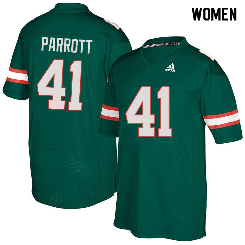 Women Miami Hurricanes #41 Michael Parrott College Football Jerseys Sale-Green