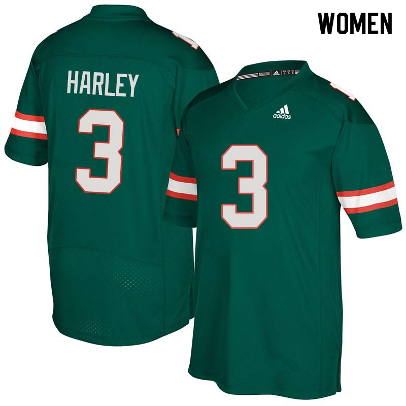 Women Miami Hurricanes #3 Mike Harley College Football Jerseys Sale-Green
