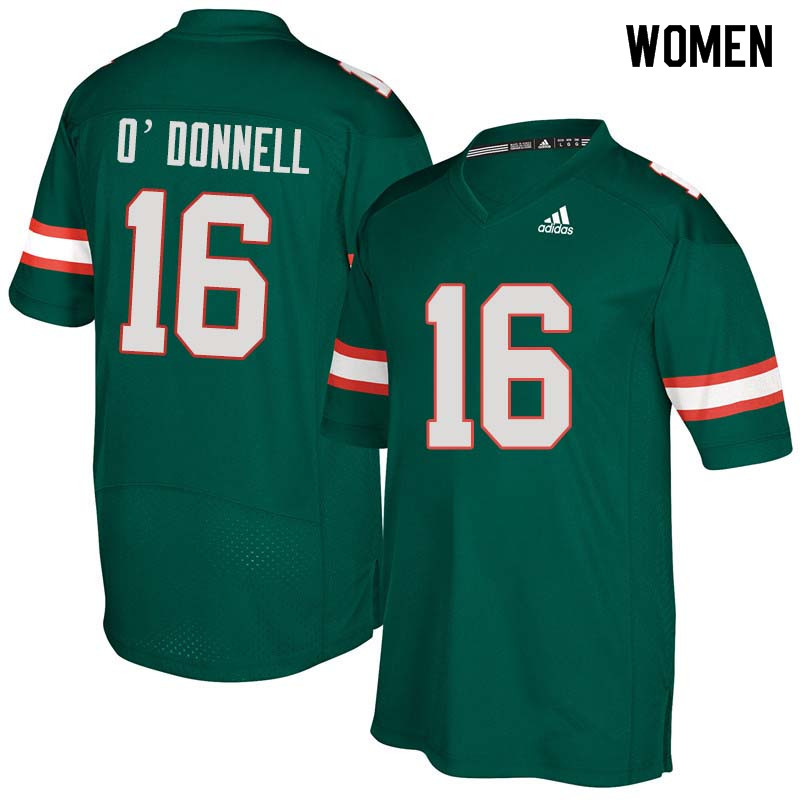 Women Miami Hurricanes #16 Pat O'Donnell College Football Jerseys Sale-Green