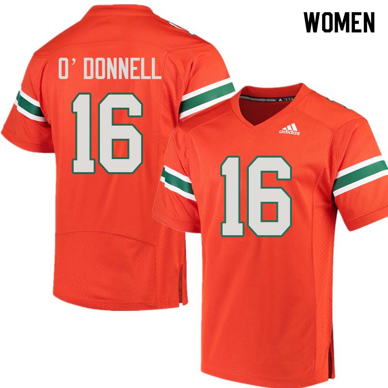 Women Miami Hurricanes #16 Pat O'Donnell College Football Jerseys Sale-Orange