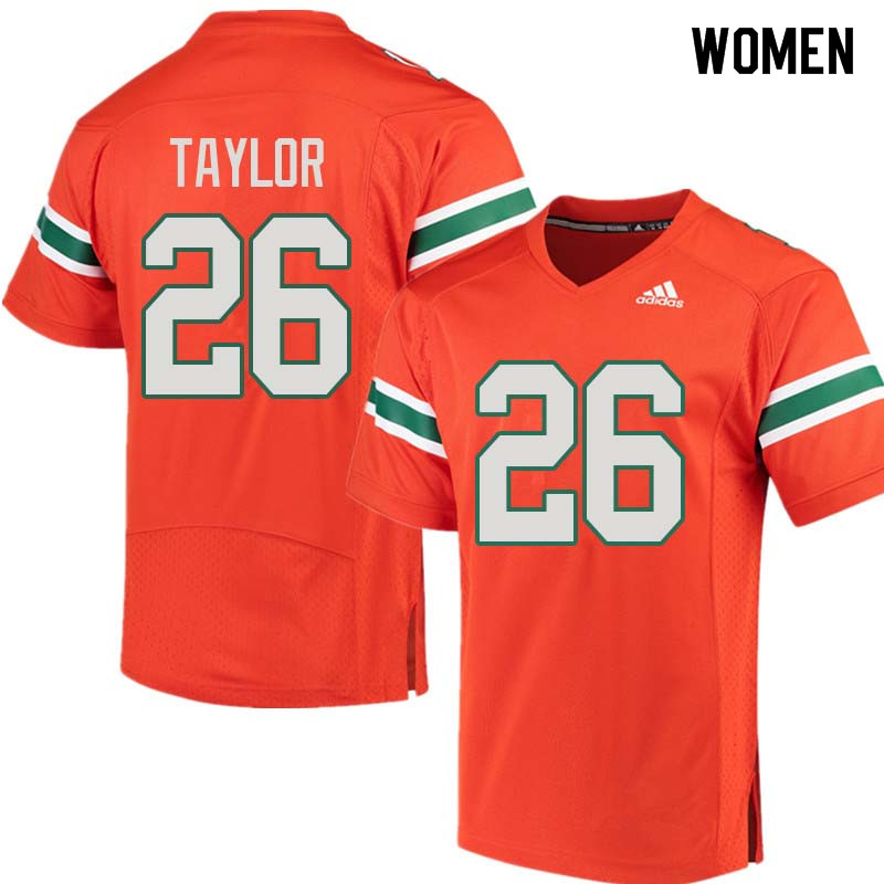Women Miami Hurricanes #26 Sean Taylor College Football Jerseys Sale-Orange