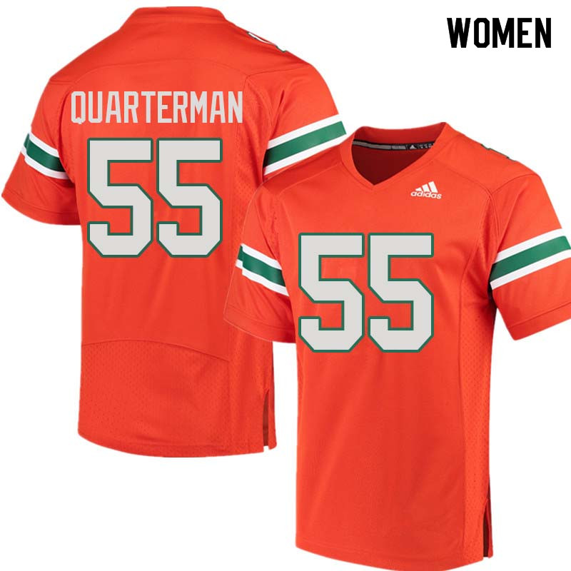 Women Miami Hurricanes #55 Shaquille Quarterman College Football Jerseys Sale-Orange
