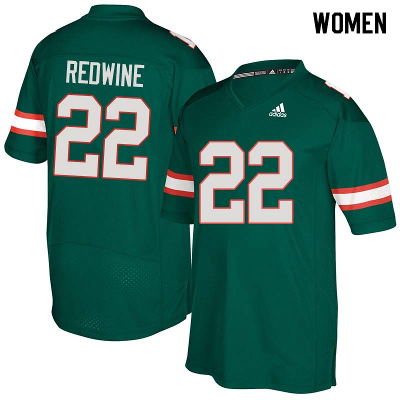 Women Miami Hurricanes #22 Sheldrick Redwine College Football Jerseys Sale-Green