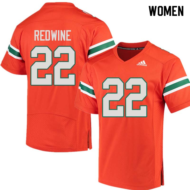 Women Miami Hurricanes #22 Sheldrick Redwine College Football Jerseys Sale-Orange