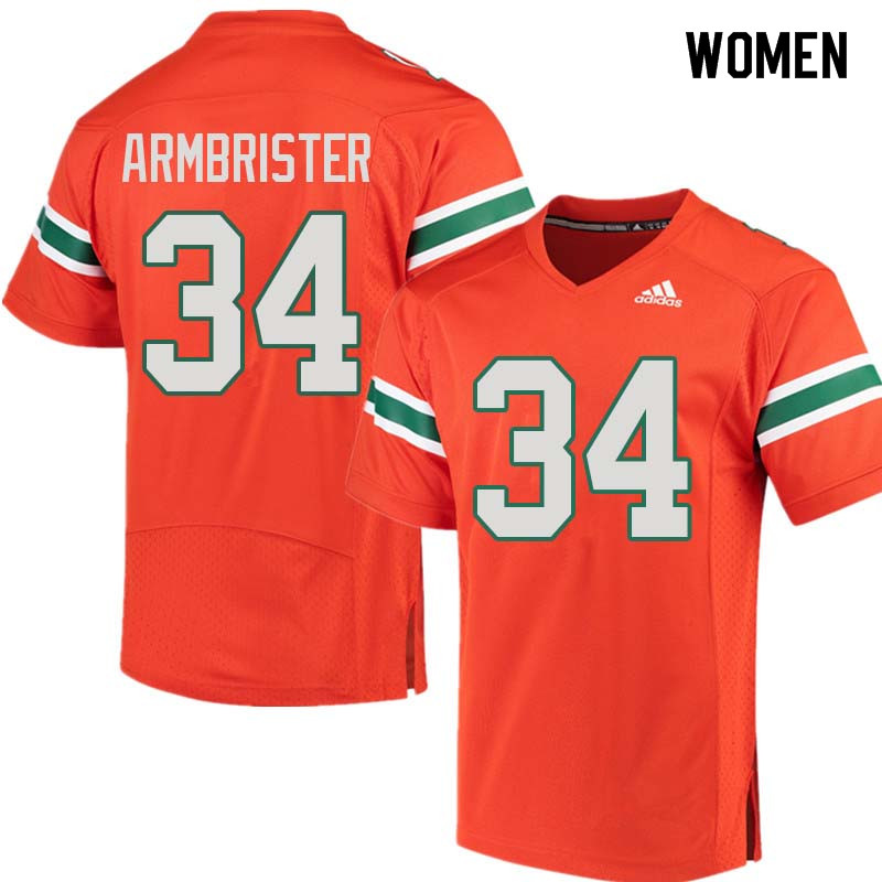 Women Miami Hurricanes #34 Thurston Armbrister College Football Jerseys Sale-Orange