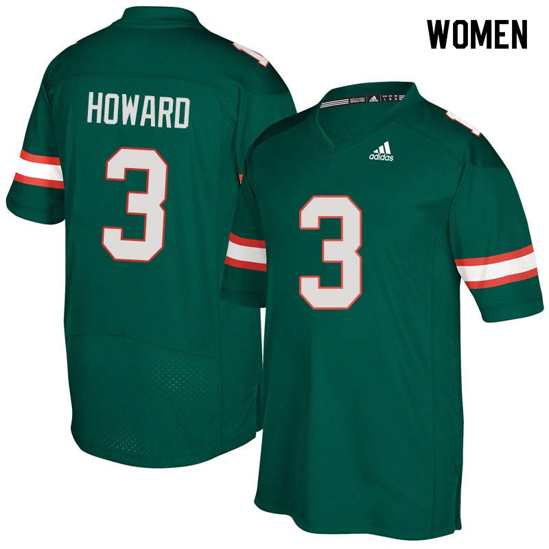 Women Miami Hurricanes #3 Tracy Howard College Football Jerseys Sale-Green