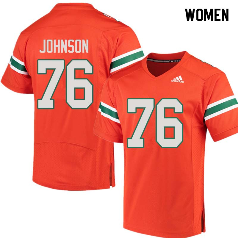 Women Miami Hurricanes #76 Tre Johnson College Football Jerseys Sale-Orange