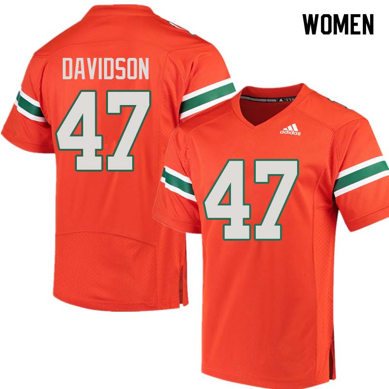 Women Miami Hurricanes #47 Turner Davidson College Football Jerseys Sale-Orange