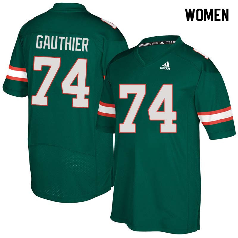 Women Miami Hurricanes #74 Tyler Gauthier College Football Jerseys Sale-Green