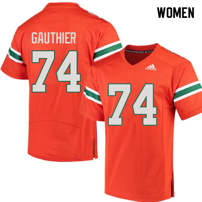 Women Miami Hurricanes #74 Tyler Gauthier College Football Jerseys Sale-Orange