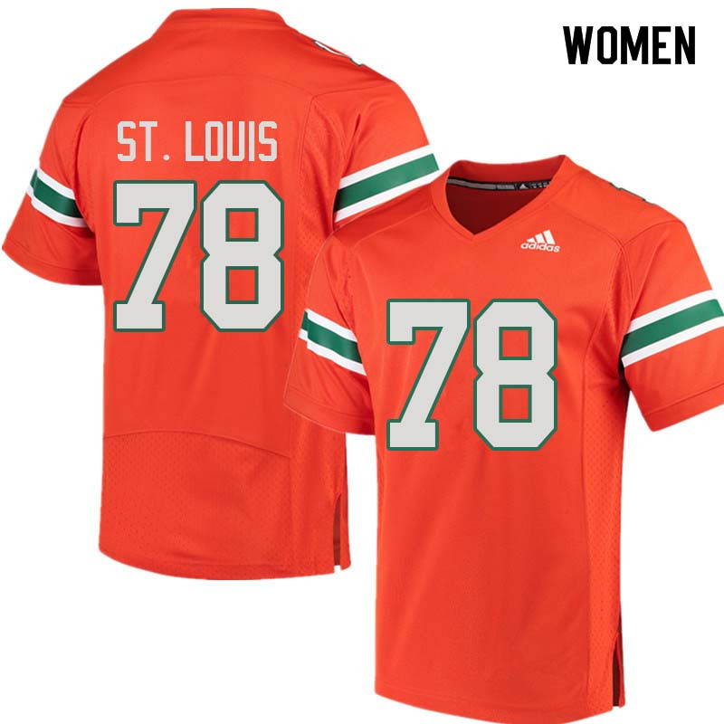 Women Miami Hurricanes #78 Tyree St. Louis College Football Jerseys Sale-Orange