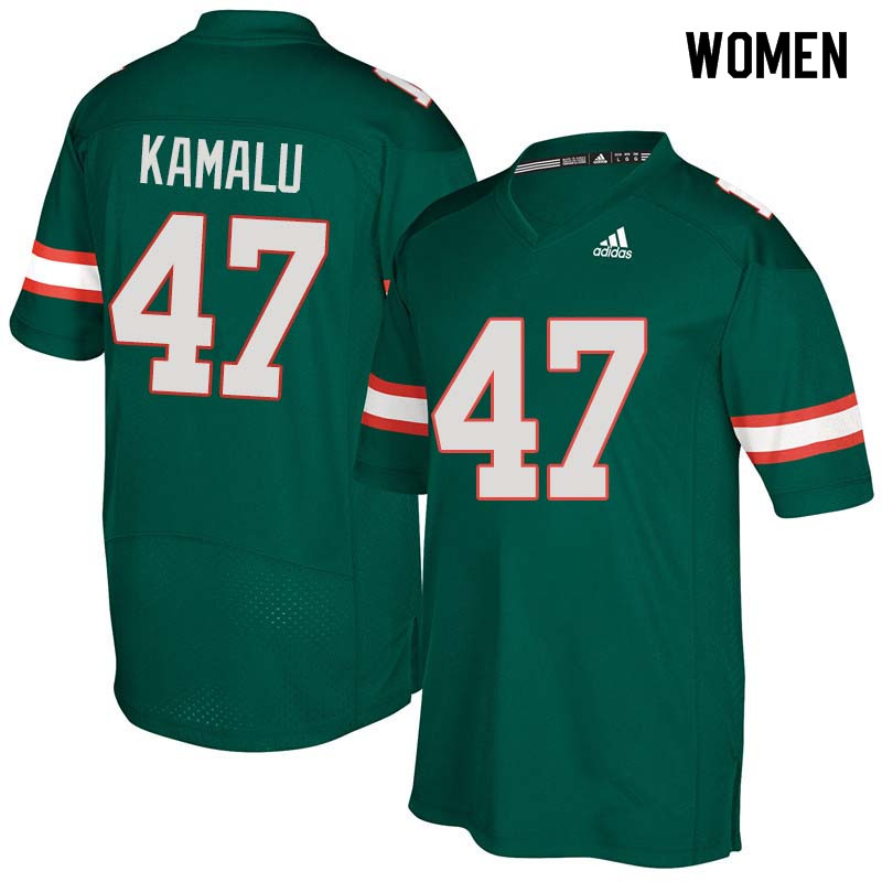 Women Miami Hurricanes #47 Ufomba Kamalu College Football Jerseys Sale-Green
