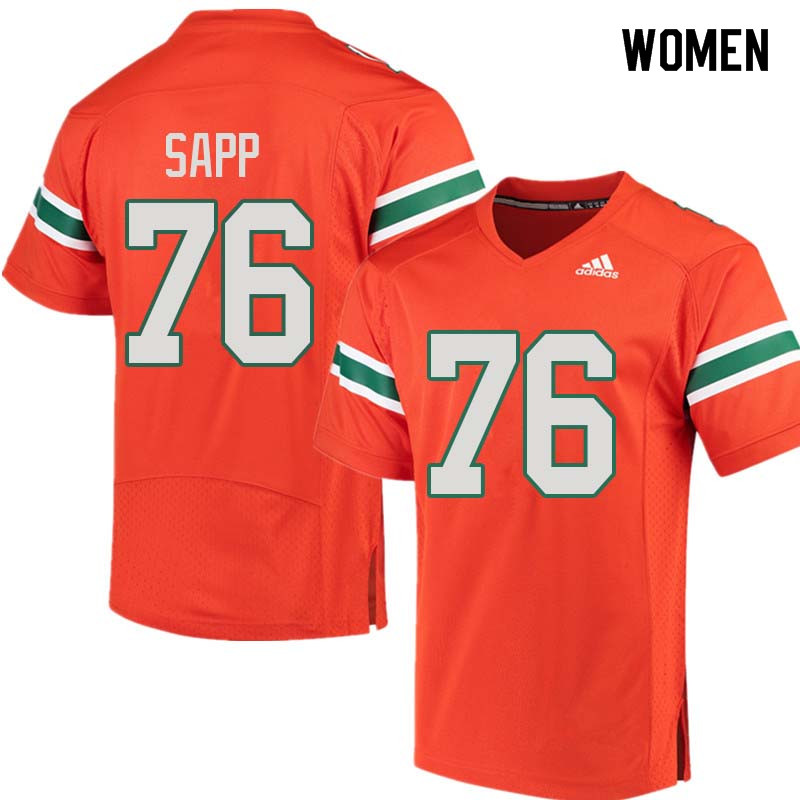 Women Miami Hurricanes #76 Warren Sapp College Football Jerseys Sale-Orange
