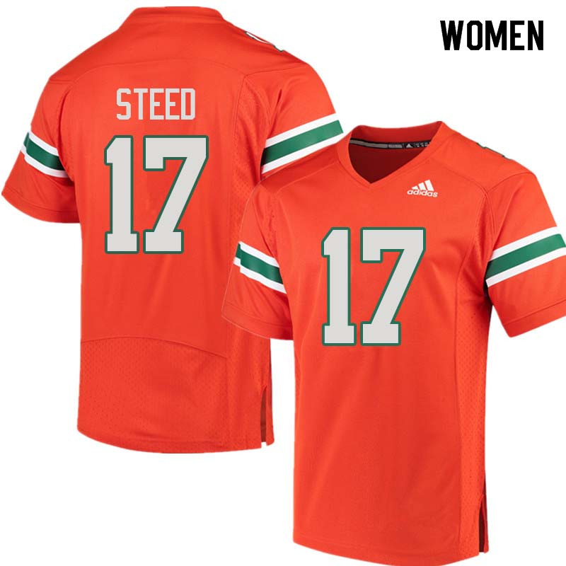 Women Miami Hurricanes #17 Waynmon Steed College Football Jerseys Sale-Orange