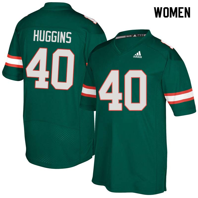Women Miami Hurricanes #40 Will Huggins College Football Jerseys Sale-Green
