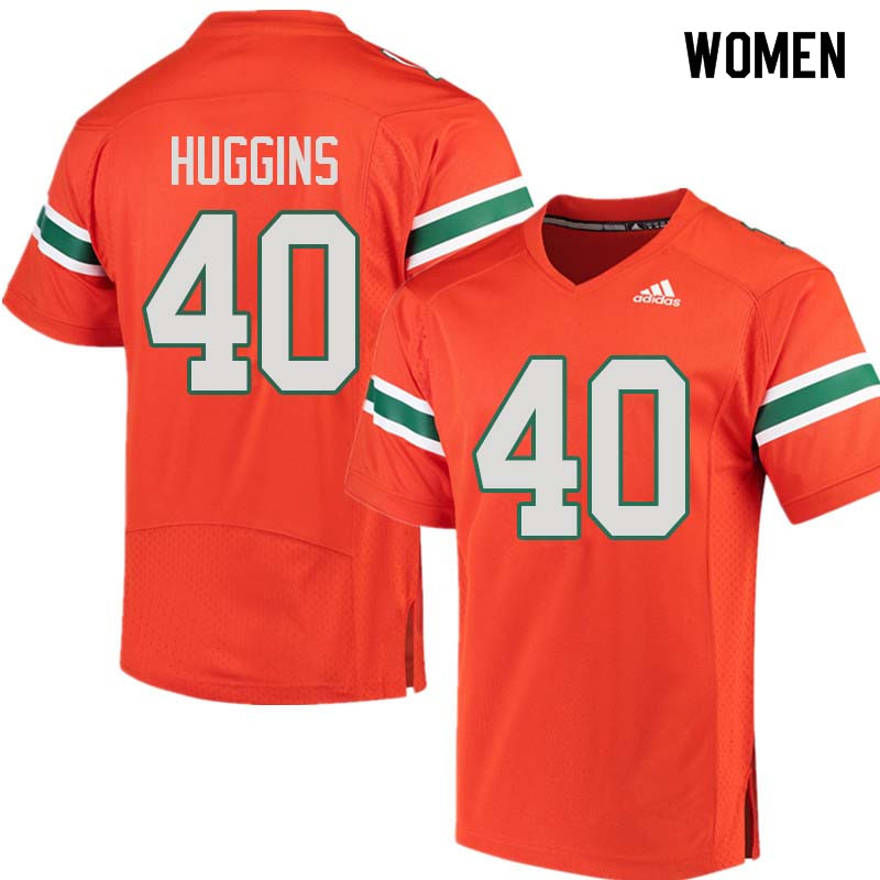 Women Miami Hurricanes #40 Will Huggins College Football Jerseys Sale-Orange