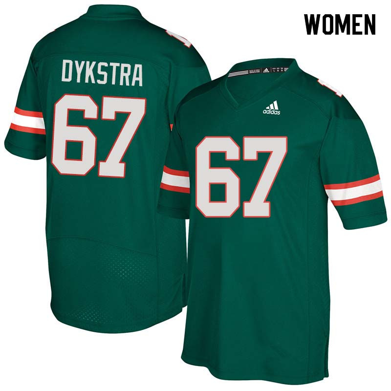 Women Miami Hurricanes #67 Zach Dykstra College Football Jerseys Sale-Green