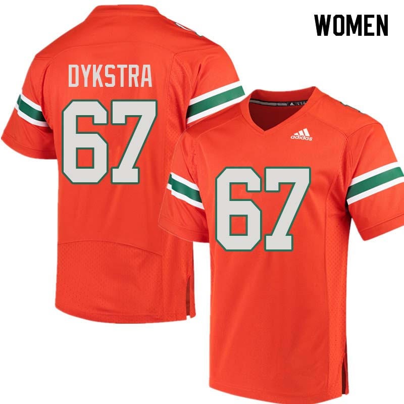 Women Miami Hurricanes #67 Zach Dykstra College Football Jerseys Sale-Orange