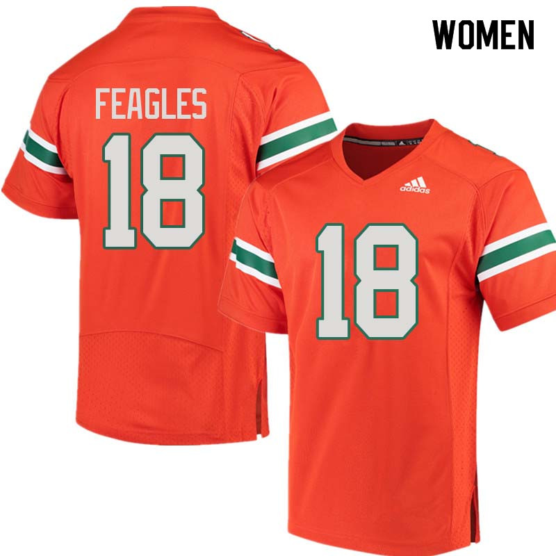 Women Miami Hurricanes #18 Zach Feagles College Football Jerseys Sale-Orange
