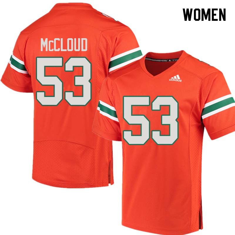 Women Miami Hurricanes #53 Zach McCloud College Football Jerseys Sale-Orange