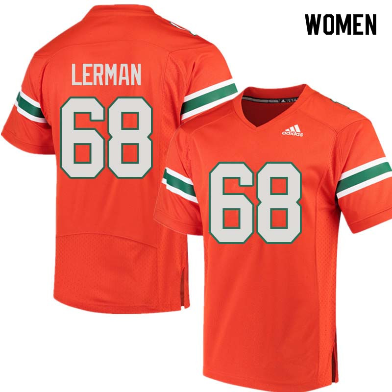 Women Miami Hurricanes #68 Zachary Lerman College Football Jerseys Sale-Orange