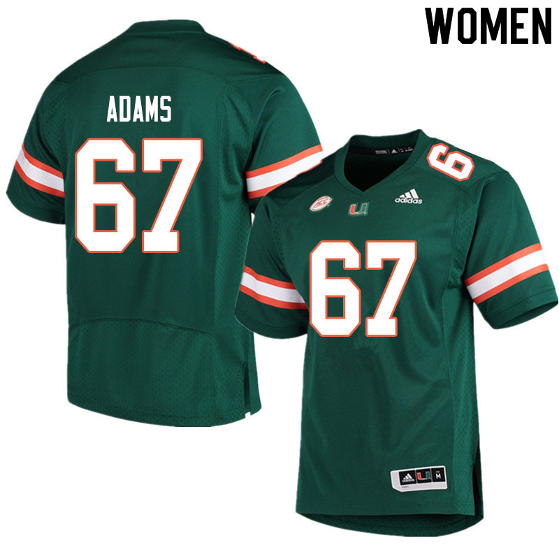 Women #67 Gavin Adams Miami Hurricanes College Football Jerseys Sale-Green