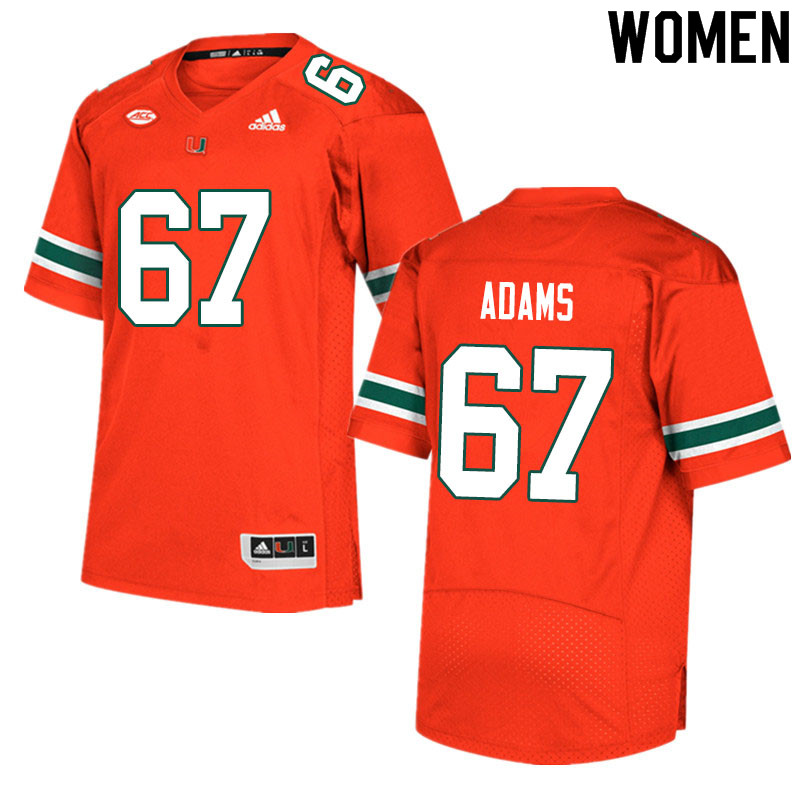 Women #67 Gavin Adams Miami Hurricanes College Football Jerseys Sale-Orange