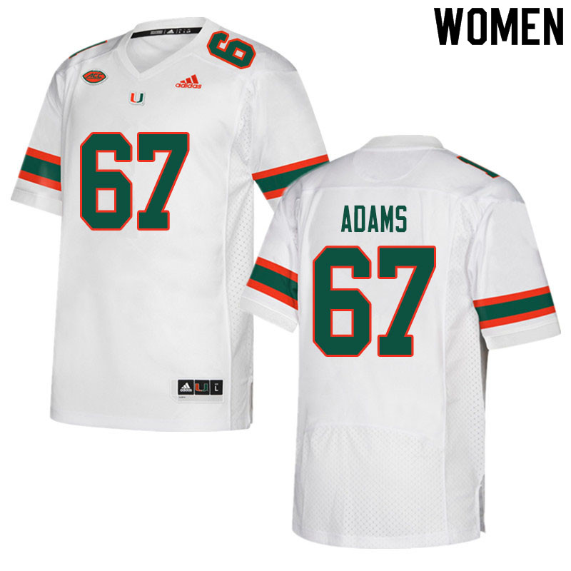 Women #67 Gavin Adams Miami Hurricanes College Football Jerseys Sale-White