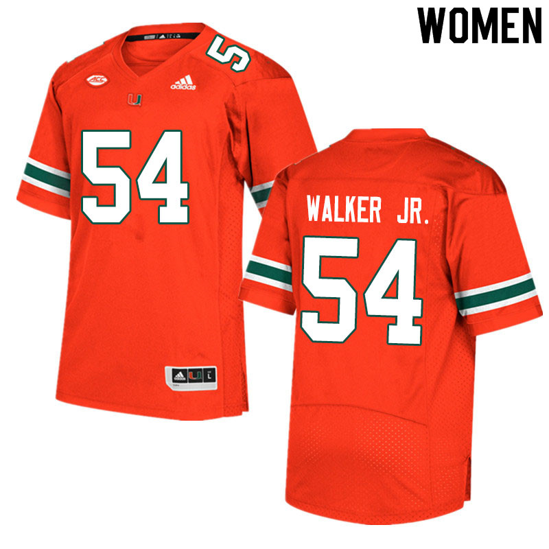 Women #54 Issiah Walker Jr. Miami Hurricanes College Football Jerseys Sale-Orange
