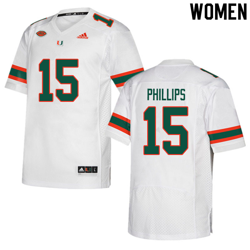 Women #15 Jaelan Phillips Miami Hurricanes College Football Jerseys Sale-White